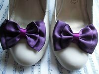 PAIR AUBERGINE SATIN DOUBLE BOW SHOE CLIPS VINTAGE STYLE GLAMOUR BOWS 40's 50's