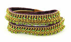 New Authentic Fiona Paxton Green African Sushi Emi Double Wrap Cuff Bracelet