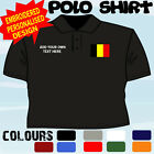 PERSONALISED BELGIUM FLAG EMBLEM T POLO SHIRT EMBROIDERED DESIGN