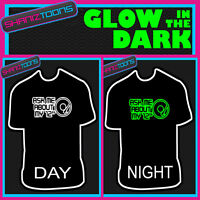 "ASK ME ABOUT MY 12"" DJ FESTIVAL CLUB IBIZA FUNNY GLOW IN THE DARK PRINTED TSHIRT"