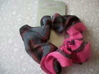 HOT PINK LEOPARD ANIMAL PRINT CHIFFON SCRUNCHIE PONYTAIL BAND HAIR ACCESSORY