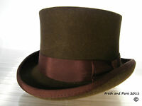NEW English Genuine Wool Felt Classic Brown Top Hat Formal Event S M L XL