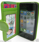 Green Apple iPhone 4 4G 4S 4GS Wallet Credit Card Flip Leather Pouch Case Cover