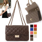 WOMEN'S HANDBAG CLASSIC QUILTED MEDIUM FLAP SHOULDER CROSS BAG REAL COW LEATHER