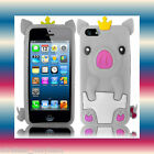 Pig Smooth Silicon White Apple iPhone 5 5G 6th Gen Soft Phone Cover Case Skin