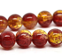 100 X RED & YELLOW GLASS CRACKLE ROUND BEADS 8 MM 12231