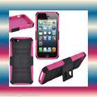 Kickstand PC+TPU Black/Pink Apple iPhone 5 5G 6th Gen Impact Soft Gel+Hard Case