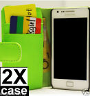 2xGreen Samsung Galaxy S2 i9100 Credit Card Wallet Flip Leather Pouch Case Cover
