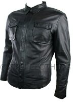 Mens Fitted Vintage Shirt Style Retro Leather Jacket Black Casual Soft