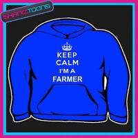 KEEP CALM IM A FARMER SLOGAN ADULTS MENS LADIES HOODIE HOODY GIFT