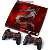 PS3 Slim PlayStation 3 Slim Skin Stickers PVC for Console & 2 Pads ***Mortal***