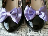 1 PAIR LILAC PURPLE SATIN DOUBLE BOW SHOE CLIPS VINTAGE STYLE GLAMOUR 40'S 50'S