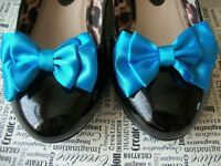 1 PAIR TURQUOISE SATIN DOUBLE BOW SHOE CLIPS VINTAGE STYLE GLAMOUR 40'S 50'S