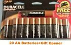40 Brand New Duracell Alkaline Batteries, AA 2 of 20/Pack Coppertop+Gift Openers