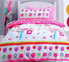 White Pink Baby Blue Owl Flora * SINGLE QUILT / DOONA COVER SET * BRAND NEW !!