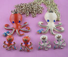 Inlaid rhinestones blue eyes beige & red octopus Earrings Necklace Group Z2
