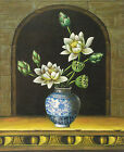 "High Quality Hand Painted Oil on Cloth Canvas 20""x 24""-Bouquet in Porcelain Vase"
