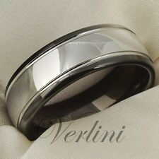 Tungsten Carbide Ring Black Mens Wedding Band 8mm Dome Bridal Jewelry Size 6-13