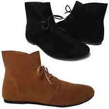 NEW Women's Short Lace Up Moccasin Flat Heel Ankle Boots Booties BLACK BROWN