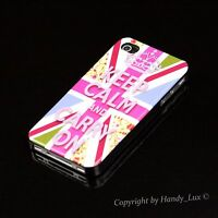 Apple iPhone 4 4S Hard Case Schutz Hülle Cover Etui Motiv Keep Calm Carry On