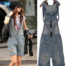 Mode Korean Damen Jeans Overalls Denim Träger Jumpsuits Trägerhose Retro Hose