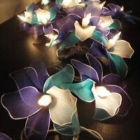 20 Blue Sky Orchid Flower Fairy String Lights Wedding Party Floral Decor 3.5m