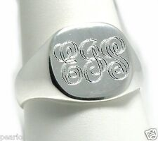 Three Initial Monogram Engraved Man's Signet Ring, Sterling Silver, Size 9 10 11