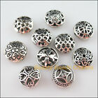 10Pcs Mixed Tibetan Silver Round Flat Spacer Beads Charms Jewelry Craft DIY F163
