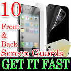10 x Front & Back Clear Anti Scratch Screen protector film for Apple iPhone 4S 4