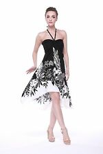 Sexy Tropical Hawaiian Halter Butterfly Cruise Luau Floral Dress Party Black