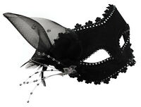 VALENCIA DECORATED BLACK LACE MASK - MASQUERADE HUNT BALL FANCY DRESS PARTY PROM