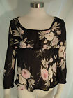 NINETY SIZE LARGE SHEER BLACK FLORAL TUNIC