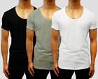 fashion PLAIN assorted SCOOP DEEP V-NECK T-SHIRT Singlet S - XXL Hooded Tank GYM