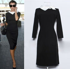 2014 Fashion Celebrity Long Sleeve Slim Wear to Work Pencil Women Midi Dress Hot