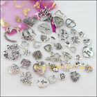 40Pcs Antiqued Silver Tone DIY/Heart Mixed Charms Pendants F193