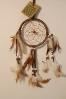 NATIVE HANDMADE DREAMCATCHER IN BROWN SUEDE LEATHER HELP BAD DREAMS / dcle09bro