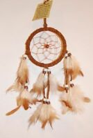 SMALL 6CM RING HANDMADE NATIVE DREAMCATCHER IN CHOCOLATE DARK BROWN / dcle06dbr