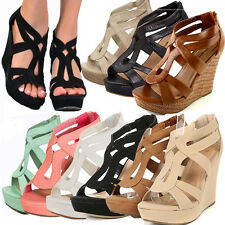 NEW Strappy Gladiator Wedge Sandal~Open Toe High Heel Women Platform  Pump Shoe