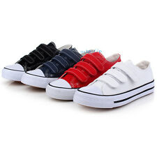 New Womens Lady Canvas Sneakers Velcro Straps Casual Shoes Trainer Hook Loop