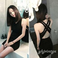 Sexy Women Sleeveless Backless Cross Bodycon Club Evening Party Mini Dress Black