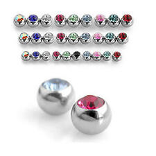 PAIR of Spare Gem Balls for Belly/Labret/Tragus/Tongue Bars - Choose Size