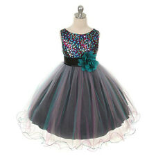 BLUE TEAL FLOWER GIRL DRESS WEDDING BRIDESMAID RECITAL PAGEANT FORMAL BIRTHDAY