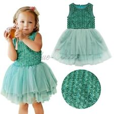 Toddler Baby Girls Kids Rose Flower Layers Tutu Party Pageant Dress Xmas Clothes