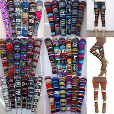 Women Skinny Colorful Print Leggings Stretchy Sexy Jeggings Pencil Tight Pants