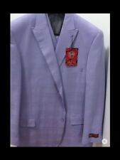 Mens 3 pc Caravelli suit,2 button,pleated pants,unfinished,lavender,new with tag