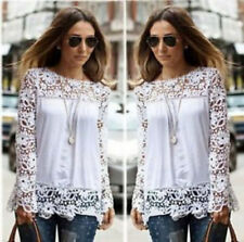 New Women Sheer Sleeve Embroidery Lace Crochet Tee Chiffon Shirt Tops Blouse