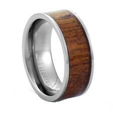 8mm Eternity Light Brown Redwood Inlay Titanium Band Men's Wedding Ring