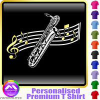 Sax Baritone Curved Stave - Personalised Music T Shirt 5yrs-6XL MusicaliTee 2