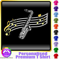 Sax Tenor Curved Stave - Personalised Music T Shirt 5yrs-6XL MusicaliTee 2
