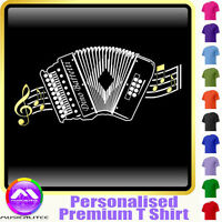 Melodeon Curved Stave - Personalised Music T Shirt 5yrs-6XL MusicaliTee 2